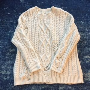 J.O.A. oversized knit distressed sweater